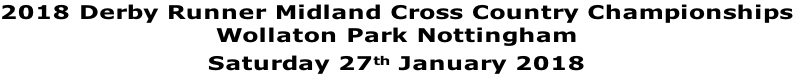 2018 Derby Runner Midland Cross Country Championships Wollaton Park Nottingham Saturday 27th January 2018